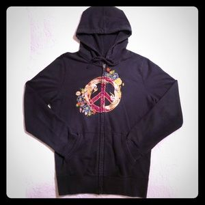 Lucky Brand Embroidered Peace Hoodie